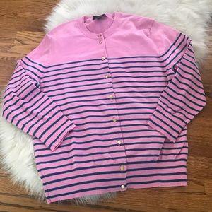 J. Crew pink navy striped cardigan sweater size L